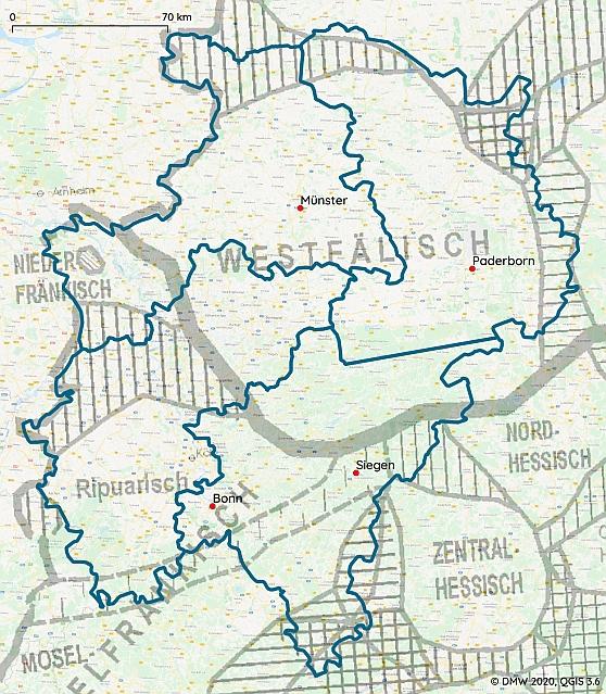 Das DMW-Gebiet - Areale Verteilung (Grundkarte nach Wiesinger 1983, (c) REDE)