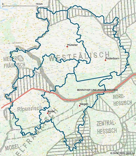 Das DMW-Gebiet – Areale Verteilung mit Benrather Linie (Grundkarte nach Wiesinger 1983, © REDE)